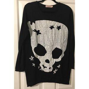 Tops - Black Skull Tunic Sweater Halloween